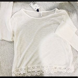 Knit top with lace detail